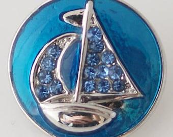 1 PC 18MM Blue Sailboat Enamel Rhinestone Silver Candy Snap Charm KB6369 Cc0662
