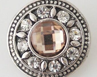 1 PC 18MM Peach Rhinestone Silver Snap Candy Charm KB7071 CC0703