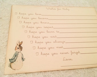 Peter Rabbit Baby Shower Games-Dear Baby Wishes for Baby Cards- fill in the blank game-set of 12