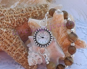 Touch of Honey - Interchangeable Watch Band, Tan Single Strand Chunky Beaded Interchangeable Watch Band
