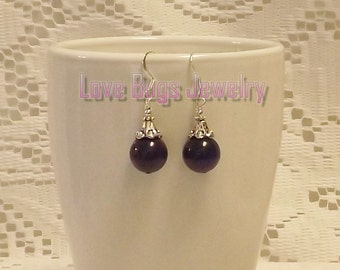 Purple Earrings - Purple Jade Earrings, Dangle Earrings, Beaded Earrings, Gemstone Earrings