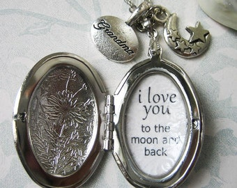 locket necklace for grandma grandmother gift  with inspirational quote i love you to the moon and back pendant  jewelry with moon charm