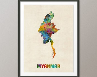 Myanmar Watercolor Map, Art Print (2130)