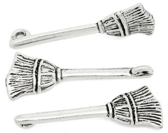 Broom Charm, 3 Charms Antique Silver Tone 27 x 9 mm   - ts733