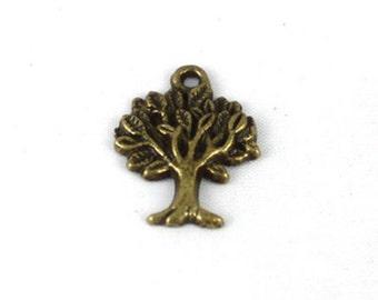 10 Tree Charms Antique Bronze U.S Seller - bz323