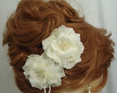 Ivory Pearl Clips, Lace Pearl Clips, Set of 2, Wedding Hair Clips, REX15-331