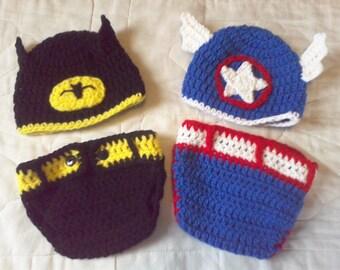 Super Heroes Diaper Ser, Diaper Set,0-3months Diaper Set,  Crocheted Batman Diaper Set,