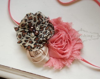 Coral and Leopard Chiffon Flower headband, baby headbands, flower baby headbands, newborn headbands, photography prop
