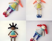 PDF Cute dolls Candice, Marine,Addy, Adeline, Crochet Pattern - Doll Crochet Toy,  DIY tutorial