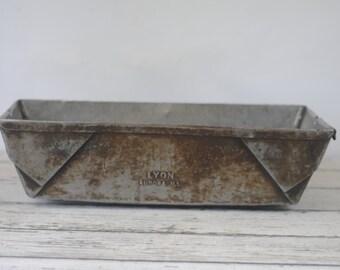 Vintage Metal Bin Lyons Vintage Metal Box Industrial Metal Decor Metal Basket Storage