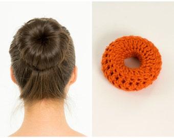 Light Red / Orange Sock Bun Maker / Crocheted Donut Bun Maker, Handmade Women's, Teens, Girls Hair Accessory, Crochet Hair Helper, Knitted