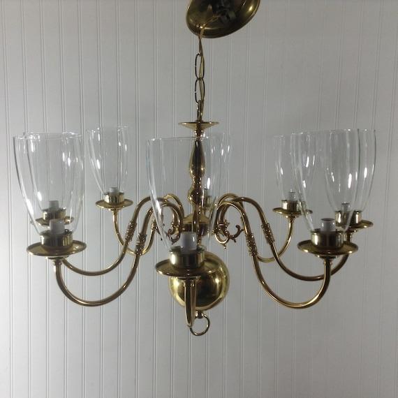 Vintage Solid Brass Pillar Light: Vintage Solid Brass 8 Light Chandelier Glass Globes See