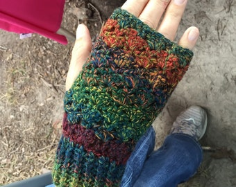 Handmade Crochet Fingerless Gloves -  Multi Colored Fall Colors