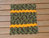 Summer Sale - Crochet Baby Blanket, Camoflauge Pram, Newborn Baby Boy, Ripple Blanket, Striped Wavy Blanket, Camouflage Crib Blanket