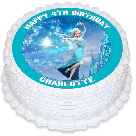 Edible Cake Images Elsa : Frozen Anna Elsa Personalised Round Edible Cake Topper ...