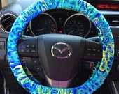 """Steering Wheel Cover made with Lilly Pulitzer's """"Lilly's Lagoon"""" fabric"""