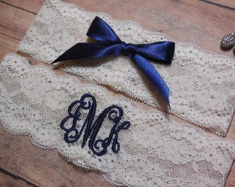 Monogrammed Garter, Monogram, Blue Garter, Navy Garter, Garter, Navy Blue Garter.Personalized Garter,Something Blue, Wedding, Bride