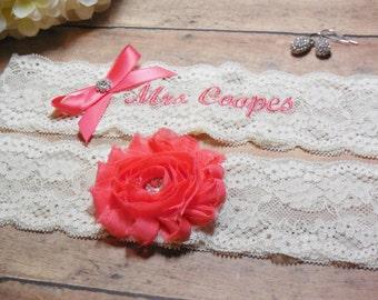 Coral Garter, Personalized Garter, Custom Garter, Garter, Monogrammed Garter, Embroidered Garter, Wedding, Bride, Bridal, Garter with name