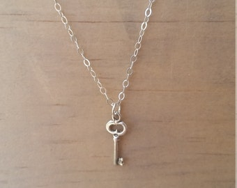 Tiny sterling silver key necklace