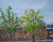 ORIGINAL Urban America Landscape Oil Painting. Small Plein Air Art. Impressionist train track and trees. Affordable modern wall decor. Cool.