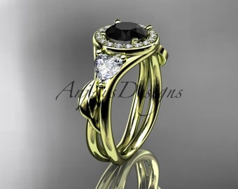14kt yellow gold diamond unique engagement ring,wedding ring with black diamond center stone, ADLR314