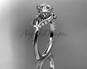 Unique  platinum diamond leaf and vine wedding ring,engagement ring ADLR225