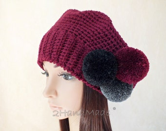Chunky Crochet Hat Rasta Tam Oversized Beret Slouchy Merino Wool Beanie Bordo Vine Gray Grey Pom Poms Womens Adult Teens