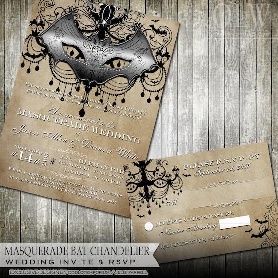 Masquerade Wedding Invitations: Masquerade Wedding Invitation Rustic Wedding Invite Halloween