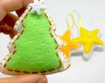 Felt Christmas ornaments stars and trees handmade in felt christmas tree decoration, christmas season decor felt ornaments