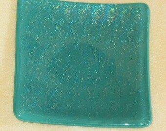 Large Jade Green Irridescent Fused Glass Dish