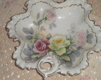 Beautiful Vintage Cabbage Rose Candy Dish/Trinket Holder