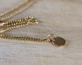 tiny gold dot necklace 14k gold filled | simple gold disc | petite gold charm |  modern layering necklace | minimalist jewelry | girlthree