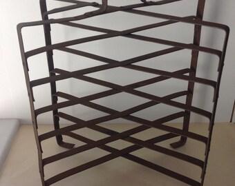 BIG Metal Vintage French metal pie plate stand, tower, or rack