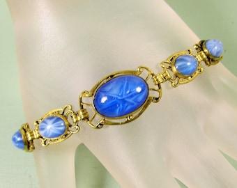 Blue Star Sapphire Bracelet - Vintage Brass Filigree Slide Dangle Bead Satin Glass