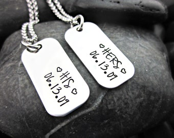 Hers and His Personalized Couple's Mini Dog Tag Necklaces with Date - Customized