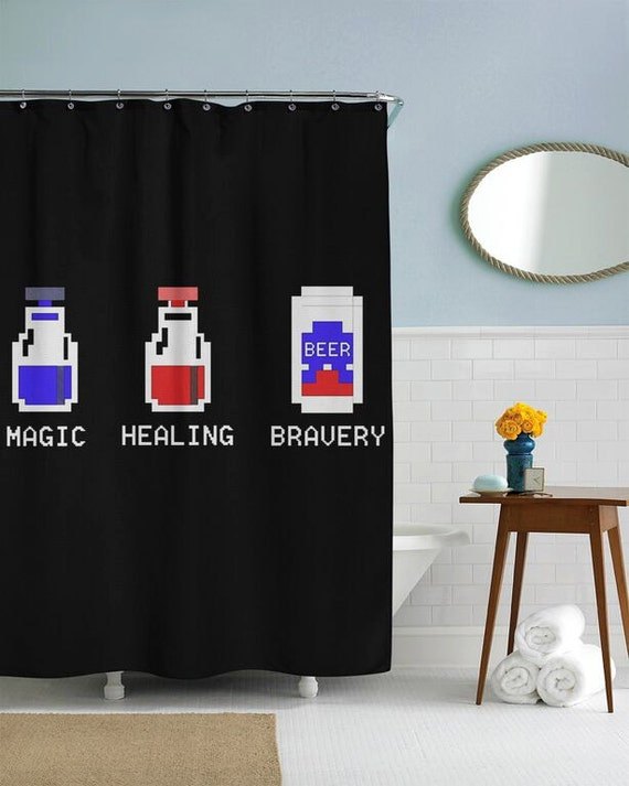 8 bit potion vials shower curtain in this house by for 8 bit decoration