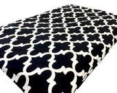 Morrocan Tile Dog Crate Mat Cover, Dog Bed Cover, Cat Bed Cover, Modern Black and White Pet Bed