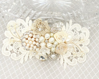 Gold Bridal Hair Accessory- Pearl & Floral Bridal Comb-Ivory Bridal Hairpiece-Pearl Hair Accessory- Romantic Bridal Comb-Gold and Ivory Comb