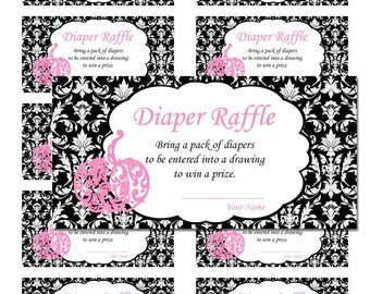 50 Pink Little Pumpkin Black Damask Halloween Baby Shower Game Diaper Raffle Tickets - Any Color