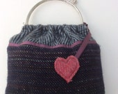 Wool Tweed embellished handbag with snap clasp handle and heart dangly
