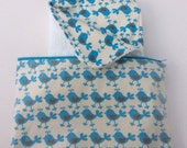 Towelling and bird print organic cotton baby  changing pad and bag