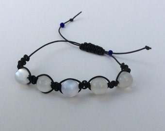 Macrame bracelet black leather cord with white cloudy beads - adjustable size