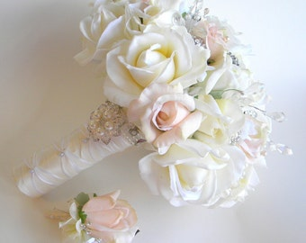 The Michelle Bouquet- Rhinestone and Pearl Real Touch Rose Bouquet in  White, Ivory &  Pale Blush Peach Brooch Bouquet