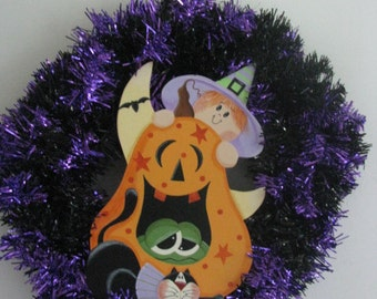 Witch's Wreath, witch,  halloween, pumpkin, frog, cat, purple, black, handpainted, wall hanging