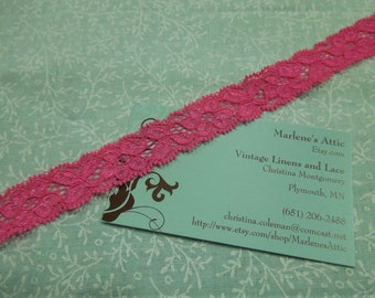 1 yard of 3/4 inch Jubilee Pink Stretch elastic lace trim for bridal, baby headband, lingerie, garter, hair by MarlenesAttic - Item 2H