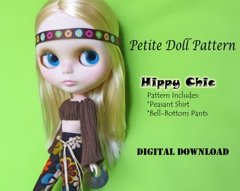 70s Hippy Bellbottoms, Peasant Blouse Clothes Pattern for Petite Fashion Dolls:Blythe, Licca, Vintage Skipper & Similar