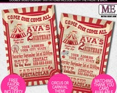 Country Carnival and Circus Birthday Invitations