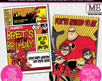 The incredibles Invitation, Birthday Invitations, the incredibles Invitation, Party Invitations, the incredibles Party, Invitations