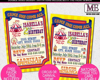 Carnival and Circus Invitations with Bright Colors