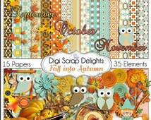 50% OFF TODAY Fall into Autumn Owls Scrapbook Kit Owl Pumpkin Patch Digital Clip Art for Scrapbooking  Fall Colors, Fall Festival, Instant D